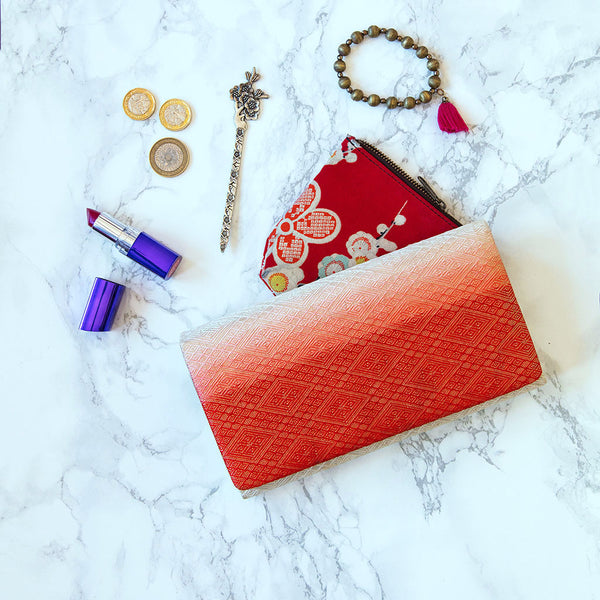 Red Folded Clutch Purse Ombre Vintage Kimono Clutch