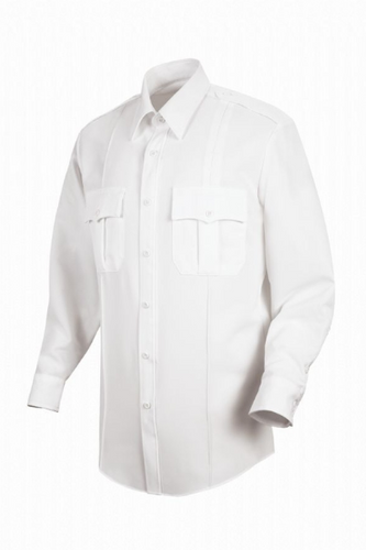 Horace Small Sentry Mens White Long Sleeve With Zipper Shirt