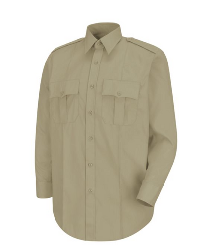 Horace Small New Dimension Poplin Silver Tan Long Sleeve Shirt