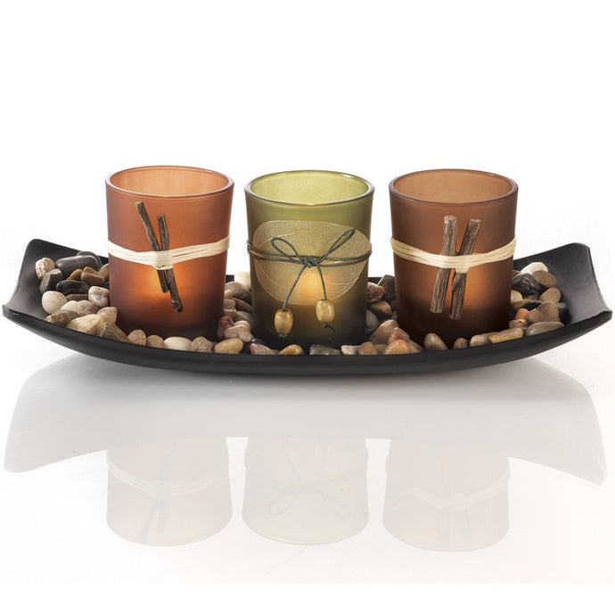 Dawhud Direct Natural Candlescape Set, 3 Decorative Candle Holders, Rocks and Tray