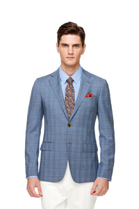 Custom Light Blue Wool Silk Blaser ottotos