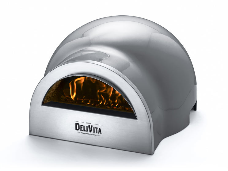 The Delivita Hale Grey wood fired oven - perfect for pizza, bbqs and all outdoor cooking