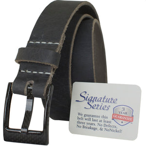 Metal free belt has three year guarantee against breakage. Carbon fiber buckle plus handcrafted distressed gray leather strap