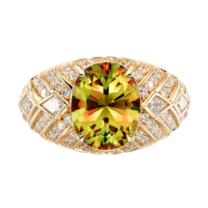 Zultanite Ring with D Flawless Diamonds set in 18K Yellow Gold