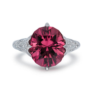 Neon Tourmaline Ring with D Flawless Diamonds set in 18K White Gold