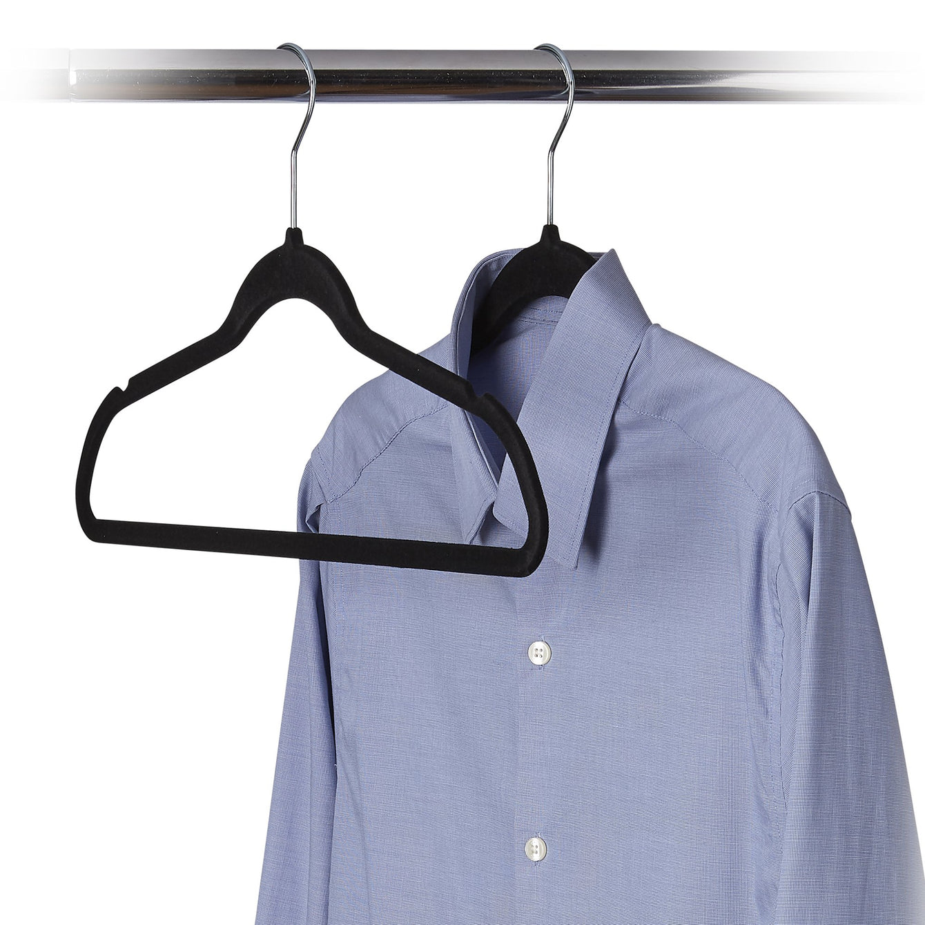 50 Pack Ultra-Slim Felt Non-Slip Clothes Hanger - Black - Style 0680