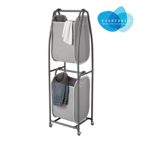 2-Tier Rolling Vertical Laundry Sorter with Hamper-Totes and EVERFRESH® Odor Control - Style 3157