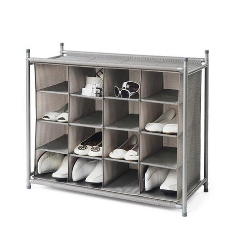 Freestanding Stackable 16-Cubby Shoe Organizer - Harmony Twill Collection - Style 5018