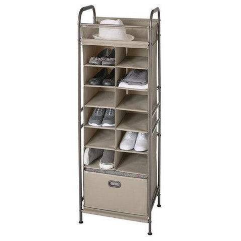 Vertical 12-Cubby Shoe Storage Organizer with Bin Drawer - Style 5123