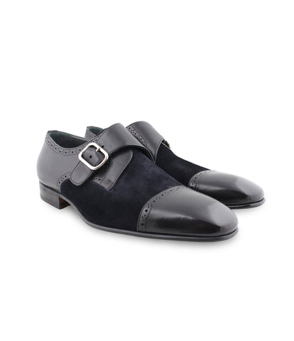 Black Navy Single Monk-Straps