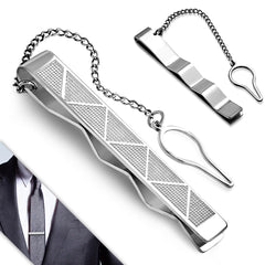 Men's Stainless Steel Triangle Bar Tie Clip with Chain - Taula Pte Ltd