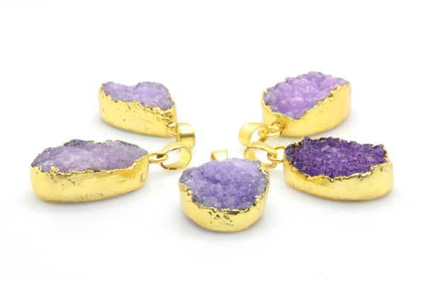 Purple Druzy Pendant with Gold Plated Brass Necklace - Taula Pte Ltd
