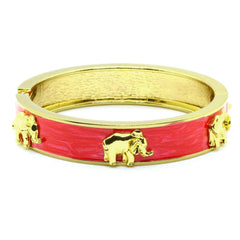 ENAMEL ELEPHANT CUFF IN GOLD PLATED BRASS - Taula Pte Ltd