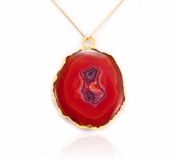 GRAND GEODE PENDANT RED IN 925 STERLING SILVER - Taula Pte Ltd