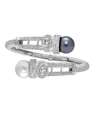 Interchangeable Pearls and Micro Pave Diamond Bracelet