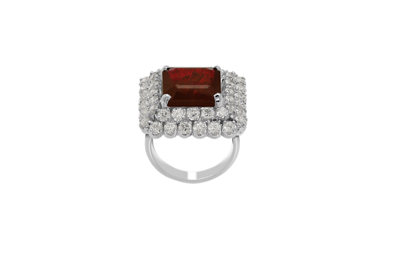 Synthetic Ruby Cocktail Ring