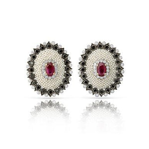 Khakha Moti Earrings with Black Diamond Simulant and synthetic ruby