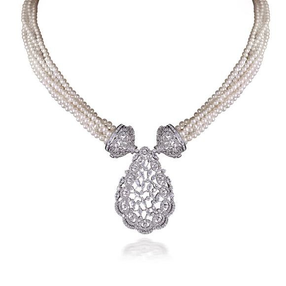 Exceptional Handcrafted Silver and Pearls Necklace