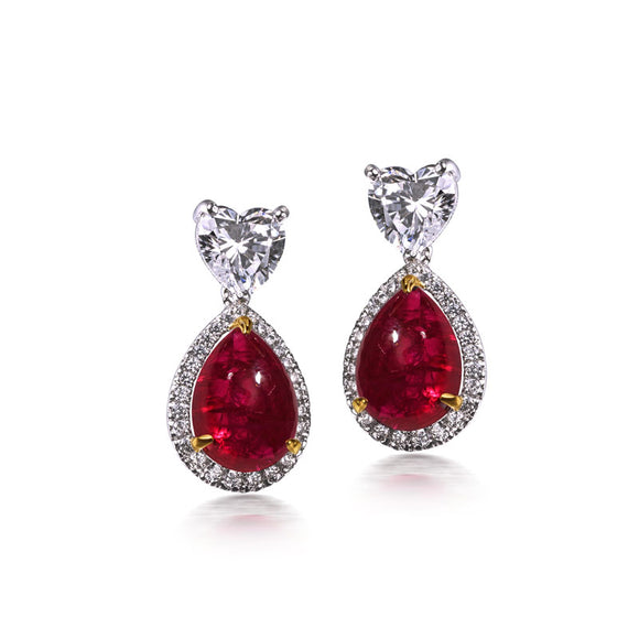 Sparkling Red Ruby Earrings in Silver / Tops