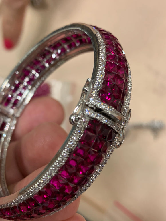 Invisible Setting Ruby Bangle