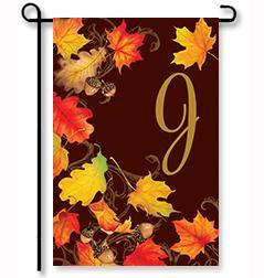 "Falling Leaves Monogram ""J"" Garden Flag"