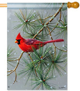 Winter Red Bird House Flag