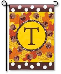 "Fall Follies Monogram ""T"" Garden Flag"