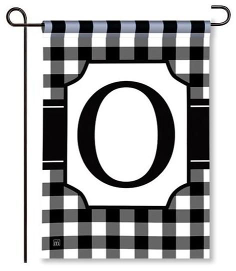 "Black and White Monogram ""O"" Garden Flag"