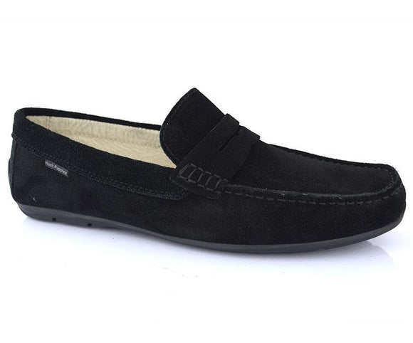 Cool walk- Black Pleasant Stunning Moccasins for Men by Hush Puppies