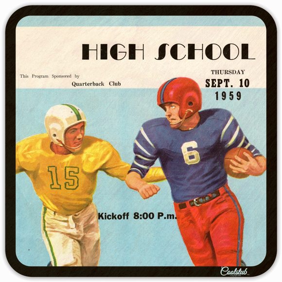 September 10, 1959: High School Football Program Coasters by Coolstub™