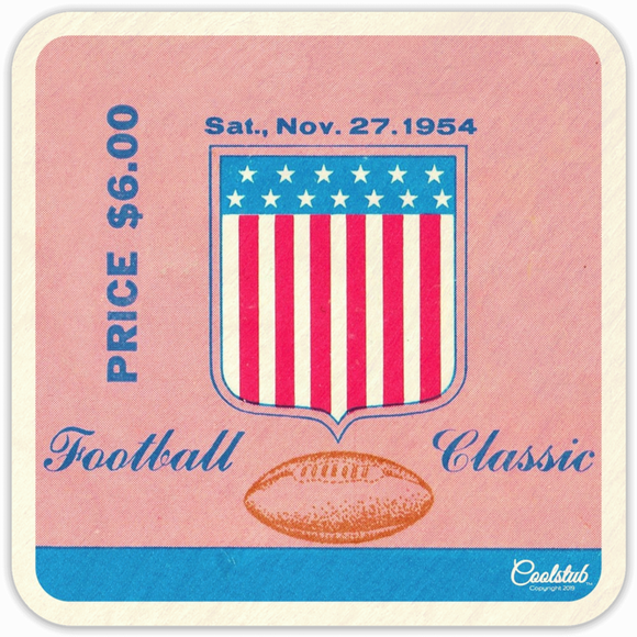 Coolstub™ November 27, 1954 Football Ticket Coasters: Best Father's Day Gifts 2019