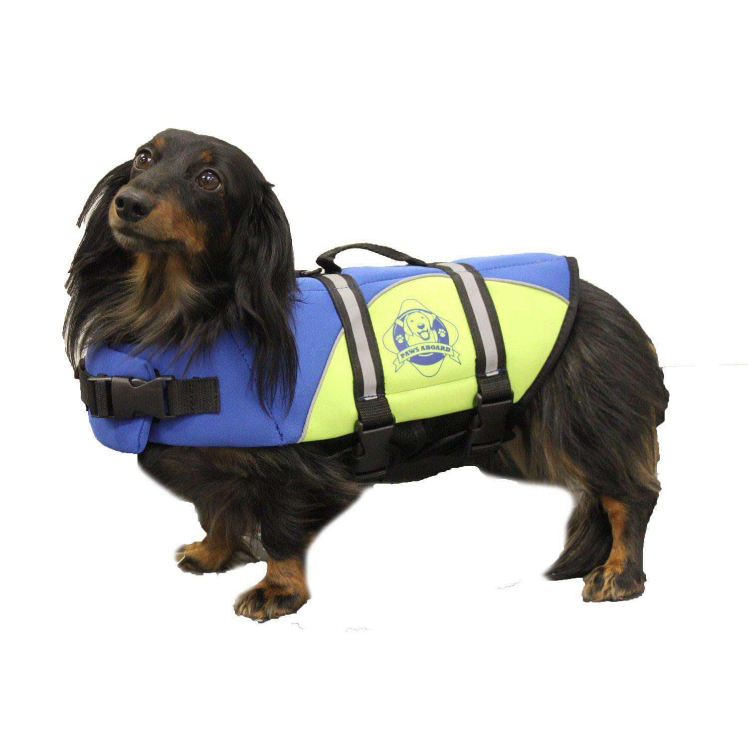 Paws Aboard Extra Small Neoprene Designer Doggy Blue - Yellow Life Guard - Jacket Upto 7-15 Lbs-Paws Aboard-DirtyFurClothing
