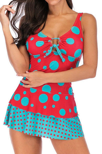 Two Pieces Dot Patchwork Padded Swimsuit