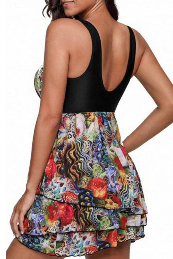 Women Swimwear Two Piece Printed Halter Swimsuit