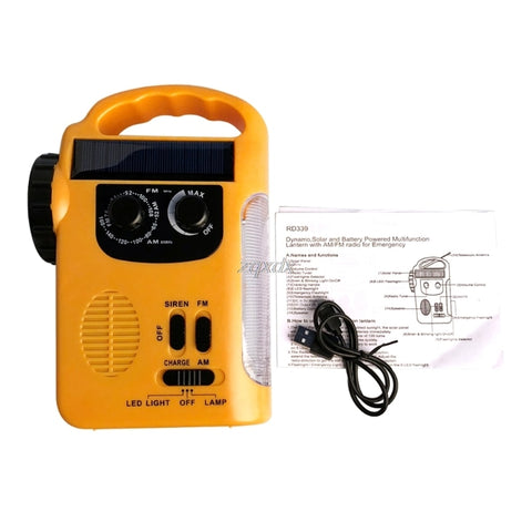 Outdoor Emergency Hand Crank Solar Dynamo AM/FM Radios Power Bank with LED Lamp