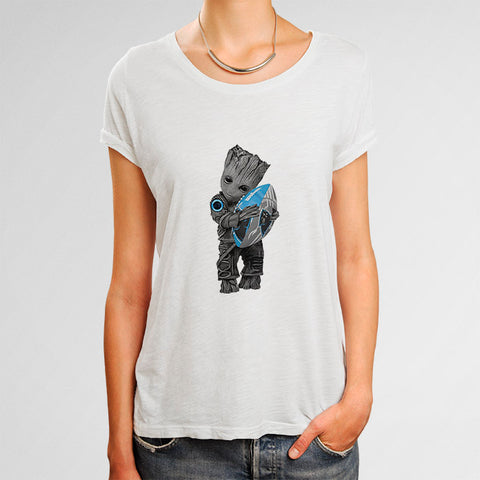 Baby Groot Hugging Carolina Panthers Woman's T-Shirt | Leaftunes