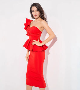 Starlet Ruffle Dress- Red