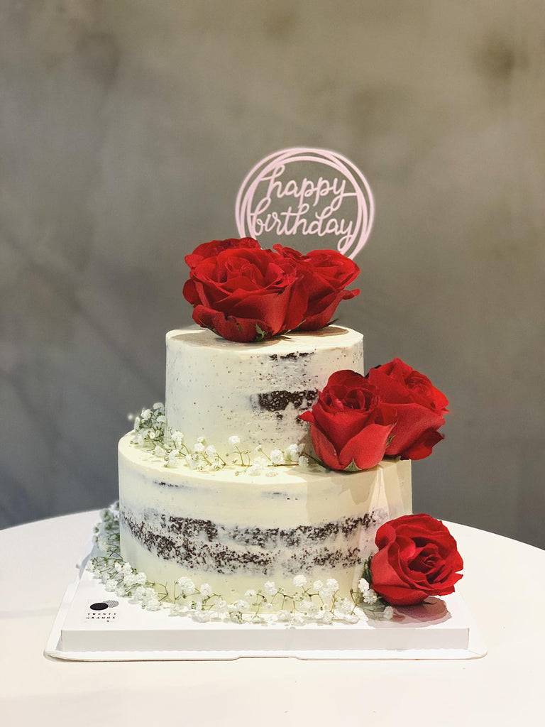 Two Tier Naked Rose Cake