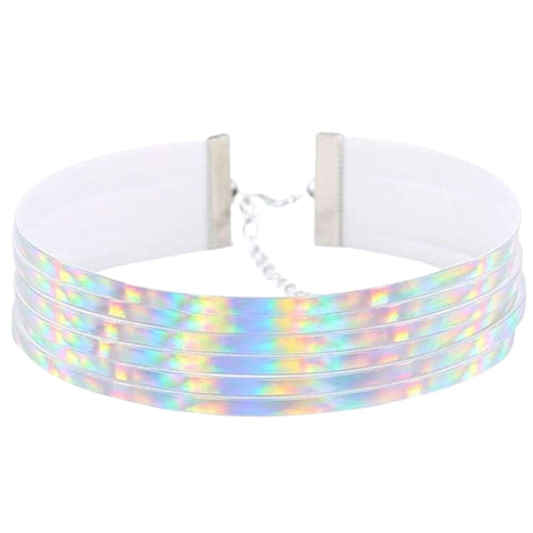 Layered Leather Holographic Choker