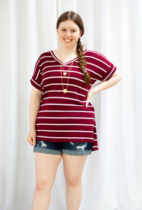 Burgundy Striped Rolled Short Sleeve Top