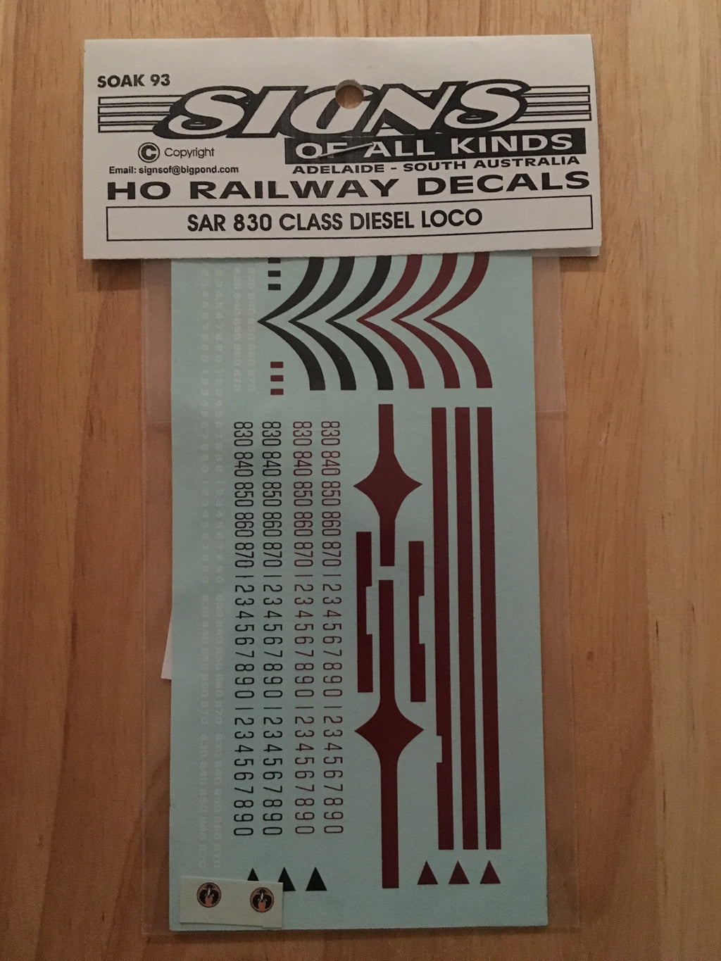 SK 93 DECAL for 830 CLASS Locomotives HO,