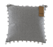 Pom Pom Chambray Cushion - Raven