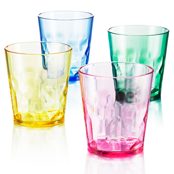 8 oz Unbreakable Premium Juice Glasses - Set of 4 - Tritan Plastic Cups - BPA Free - 100% Made in Japan (Assorted Colors) - UPC:641945603392