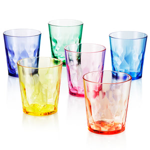 13 oz Unbreakable Premium Drinking Glasses - Set of 6 - Tritan Plastic Cups - BPA Free - 100% Made in Japan (Assorted Colors) - UPC:641945603491