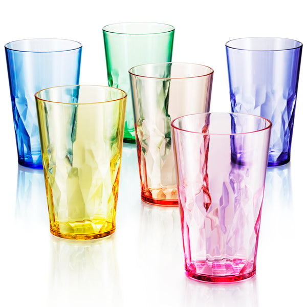 19 oz Unbreakable Premium Drinking Glasses - Set of 6 - Tritan Plastic Cups - BPA Free - 100% Made in Japan (Assorted Colors) - UPC:641945603514