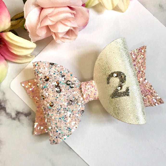 Any Age Pink Birthday Bow - Lewis Leigh Hair Bows - Glitter Bows