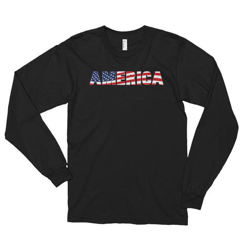 Image of America *MADE IN THE USA* Unisex Long Sleeve T-shirt - Black / S