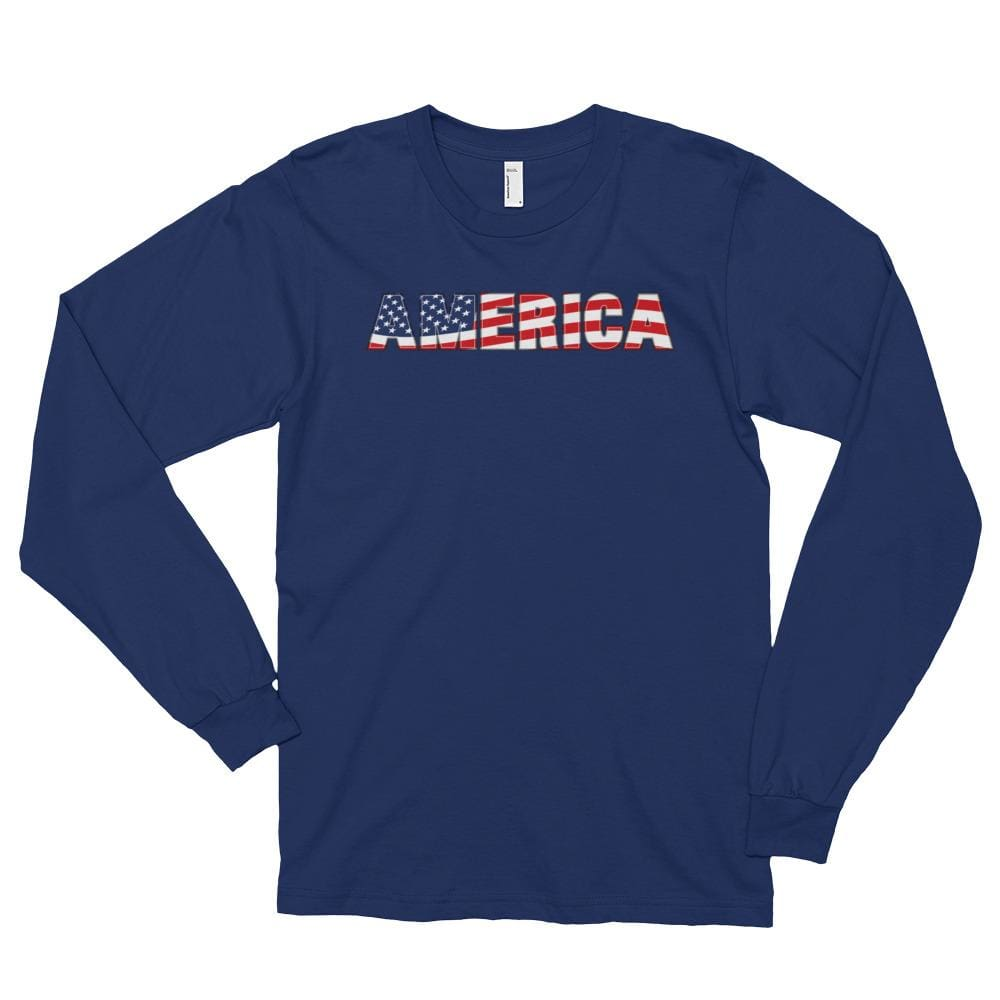 America *MADE IN THE USA* Unisex Long Sleeve T-shirt - Navy / S