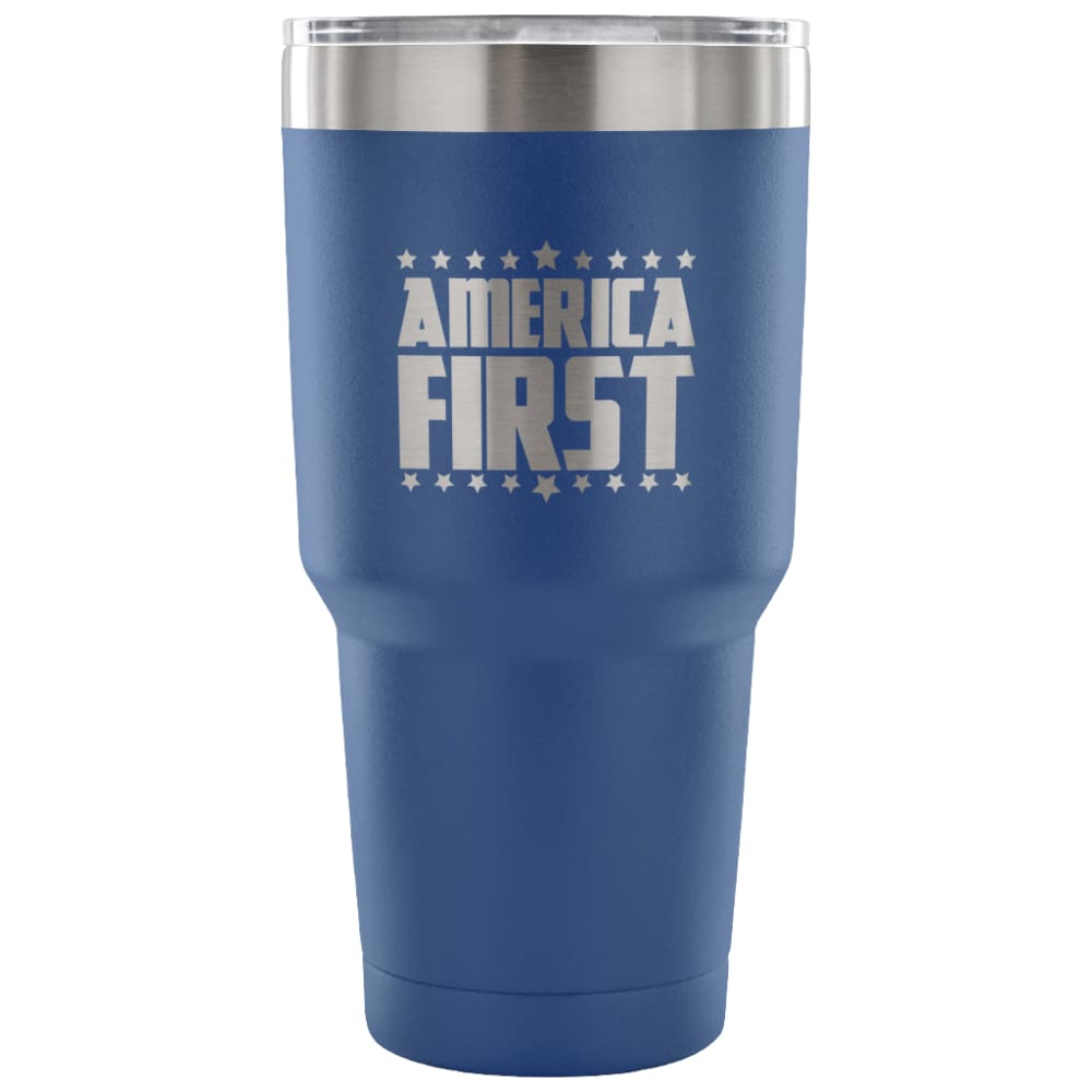 American Greatness AMERICA FIRST Tumbler (30oz) - 30 Ounce Vacuum Tumbler - Blue - Tumblers