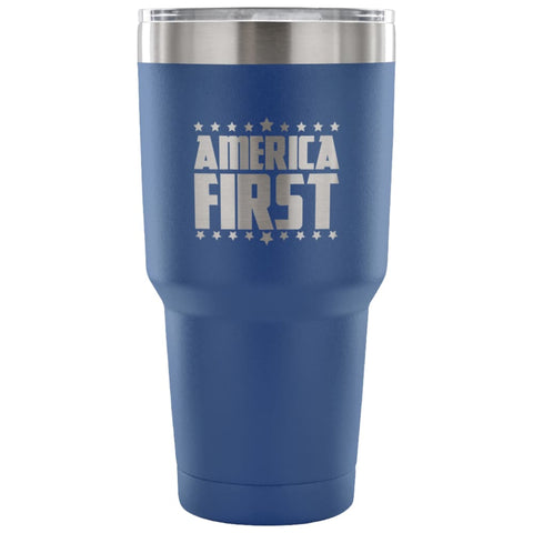 Image of American Greatness AMERICA FIRST Tumbler (30oz) - 30 Ounce Vacuum Tumbler - Blue - Tumblers